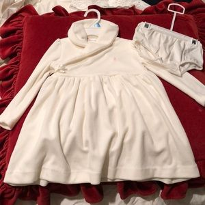 Cream velour dress w/bloomers adorable NWT